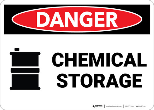 Danger: Chemical Storage with Graphic - Wall Sign
