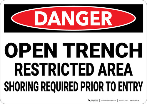 Danger: Open Trench Restricted Area Shoring Required  - Wall Sign