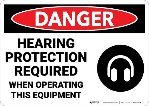 Danger: Hearing Protection Required when Operating Equipment - Wall Sign