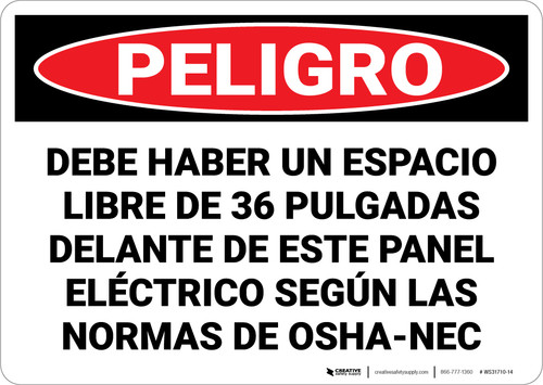 Danger: Keep Area Clear Electrical Panel Spnish - Wall Sign