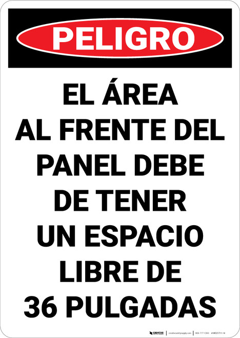 Danger: Keep Electrical Panel Clear Spanish - Wall Sign