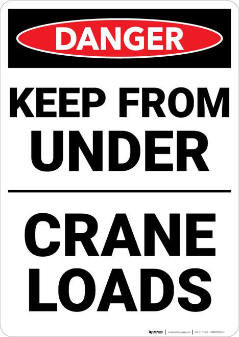 Danger: Keep Out Under Crane Loads - Wall Sign