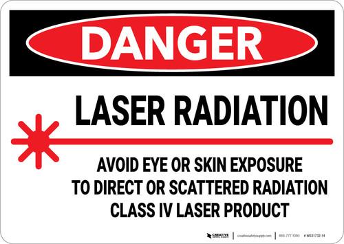 Danger: Laser Radiation Avoid Eye or Skin Exposure To Direct Laser - Wall Sign