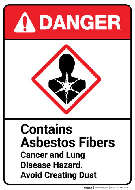 Danger: Asbestos Fibers Cancer Lung Disease Hazard ANSI - Wall Sign