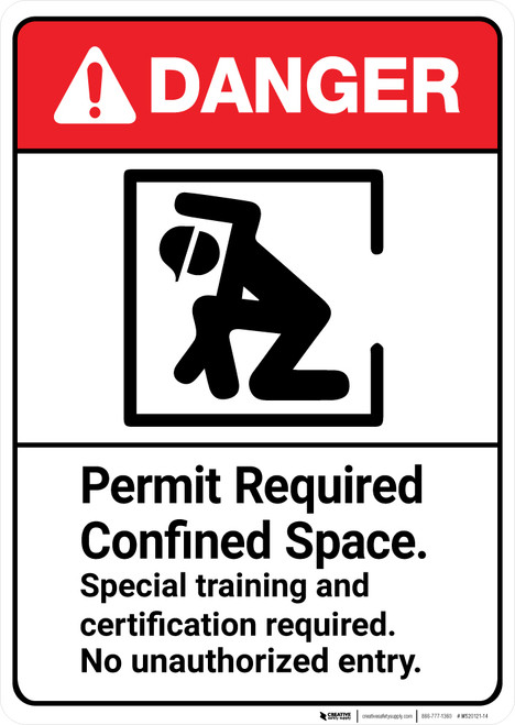 Danger: Permit Required Confined Space Training Required ANSI - Wall Sign