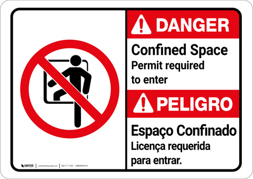 Danger: Confined Space Permit Required To Enter Bilingual Spanish - Wall Sign