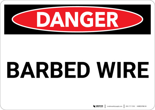 Danger: Barbed Wire - Wall Sign