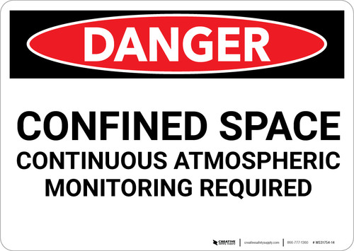 Danger: Confined Space Continuous Atmospheric Monitoring - Wall Sign