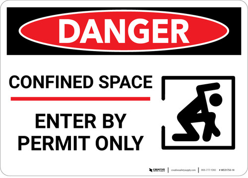 Danger: Confined Space Permit Only Warning - Wall Sign