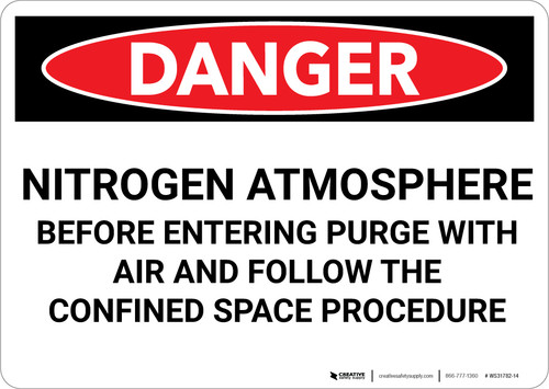 Danger: Nitrogen Atmosphere Before Entering Purge With Air - Wall Sign