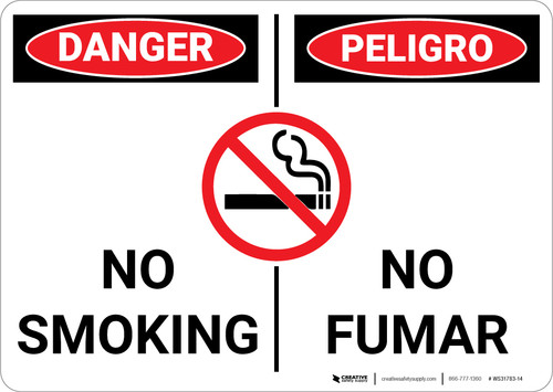 Danger: No Smoking With Graphic Bilingual Spanish - Wall Sign