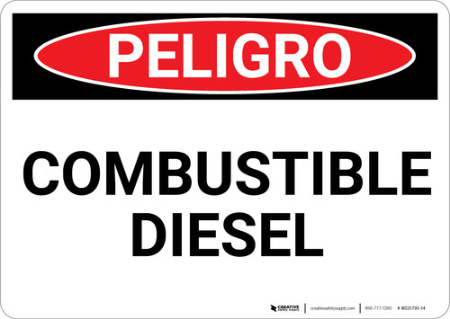 Danger: Combustible Diesel Spanish - Wall Sign