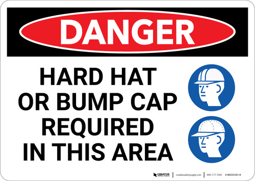 Danger: Hard Hat Bump Cat Required in This Area - Wall Sign