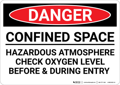 Danger: Confined Space Hazardous Atmosphere - Wall Sign