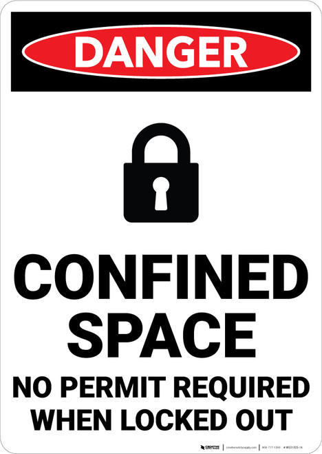 Danger: Confined Space No Permit Required When Locked Out Sign With Icon - Wall Sign
