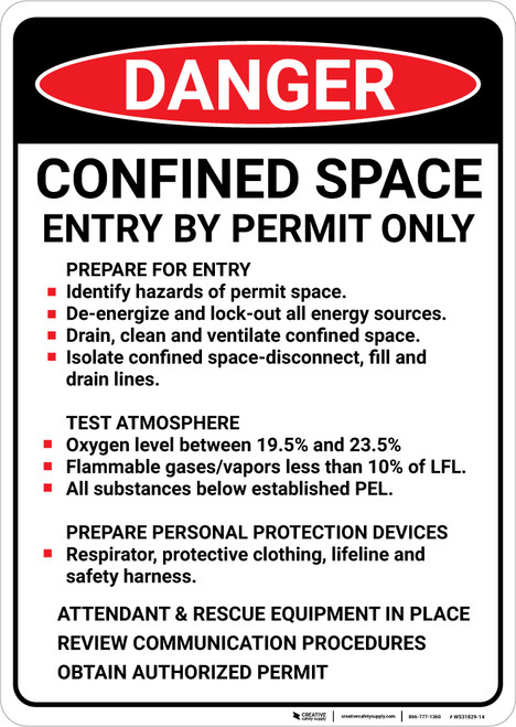 Danger: Confined Space Prepare For Entry - Wall Sign