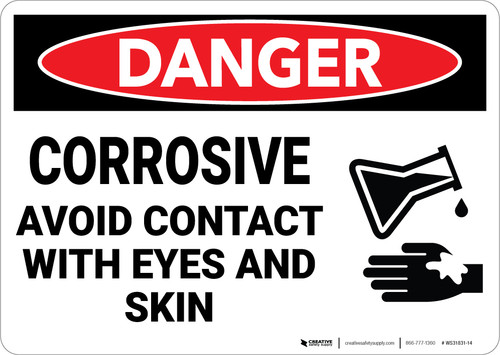Danger: Corrosive Avoid Contact Wth Eyes And Skin Sign With Icon - Wall Sign