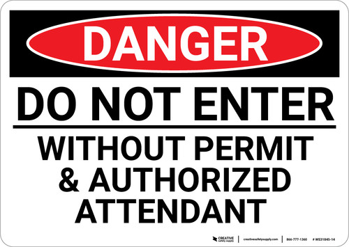 Danger: Do Not Enter Without Permit Confined Space - Wall Sign