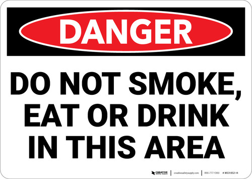 Danger: Do Not Smoke Eat ot Drink In This Area - Wall Sign