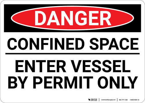 Danger: Enter Vessel Permit Only - Wall Sign