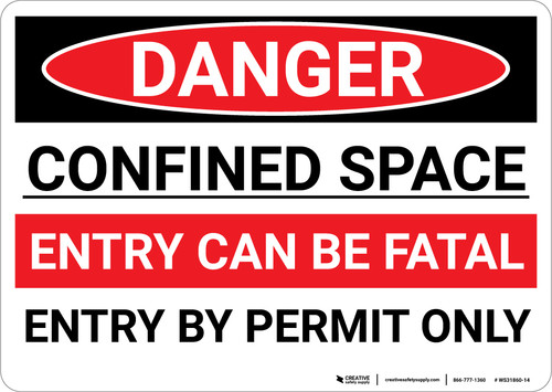 Danger: Entry Fatal Entry By Permit Only - Wall Sign