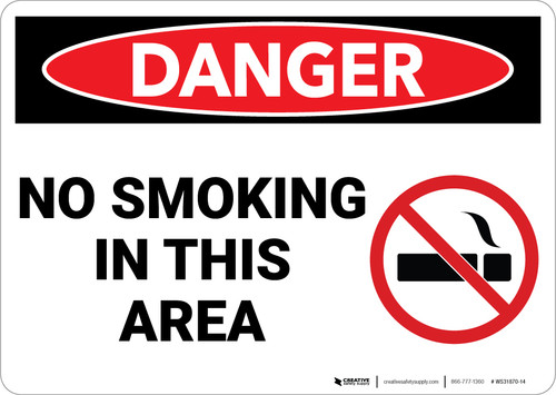 Danger: Flammable No Smoking In This Area Sign With Icon - Wall Sign