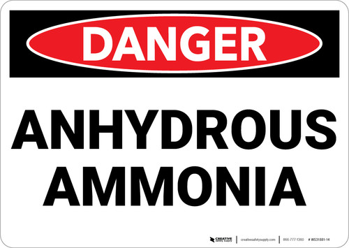 Danger: Hazard Anhydrous Ammonia - Wall Sign