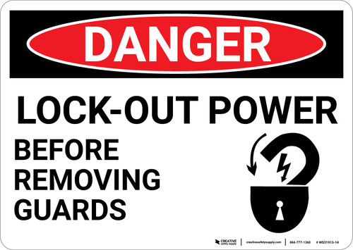 Danger: Lock Out Power - Wall Sign