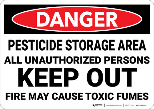 Danger: Pesticide Storage Area Keep Out - Wall Sign