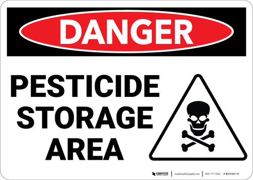 Danger: Pesticide Storage Area Sign With Icon - Wall Sign