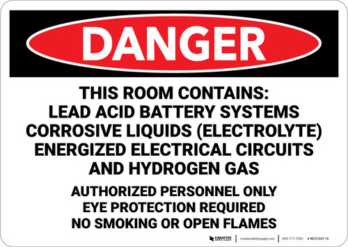 Danger: Room Contains Lead Acid Battery Systems - Wall Sign