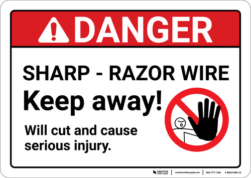Danger: Sharp Razor Wire - Wall Sign