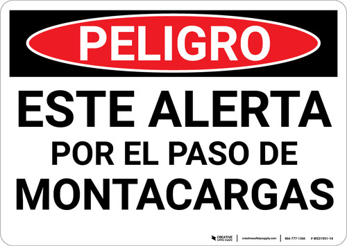 Danger: Spanish Look Out For Forklifts - Wall Sign