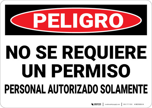 Danger: Spanish Non Permit Confined Space - Wall Sign