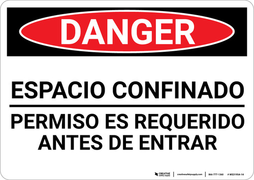 Danger: Spanish Permit Required Sign Espacio Confinado - Wall Sign