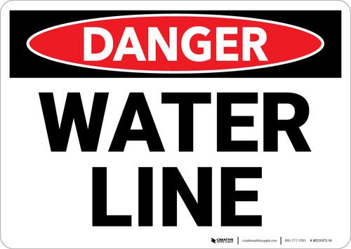 Danger: Water Line - Wall Sign