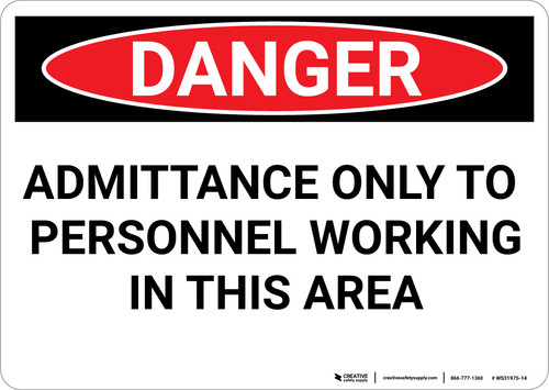 Danger: Working Personnel - Wall Sign