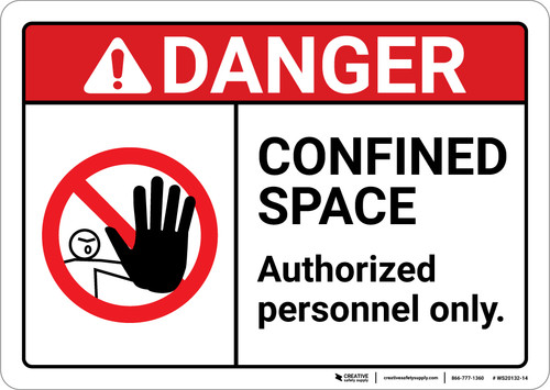 Danger: Confined Space Authorized Personnel Only With Icon ANSI - Wall Sign