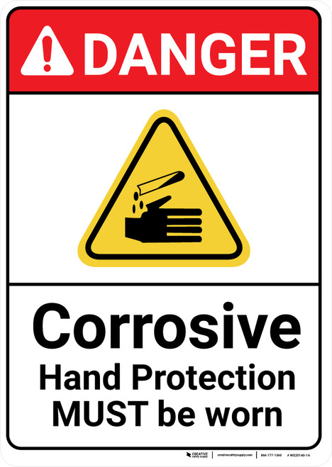 Danger: Corrosive Hand Protection ANSI - Wall Sign