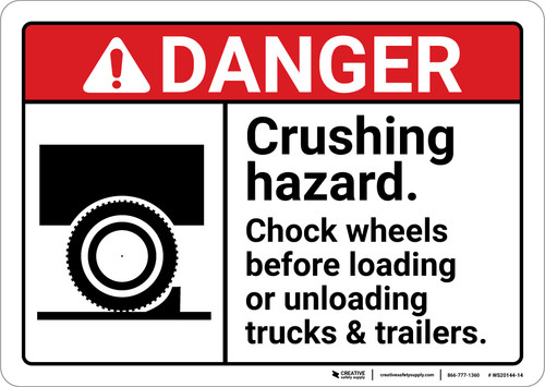 Danger: Crushing Hazard Chock Wheels ANSI - Wall Sign