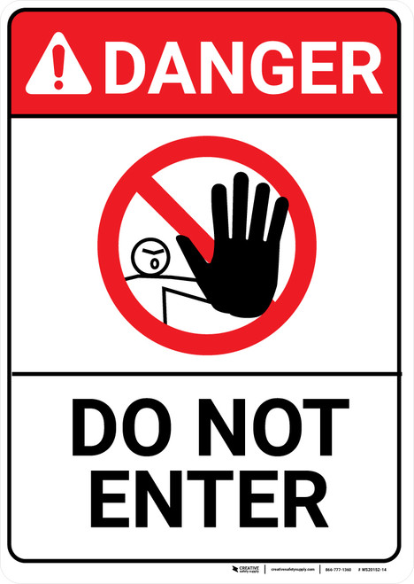 Danger: Do Not Enter Portrait with Icon ANSI - Wall Sign