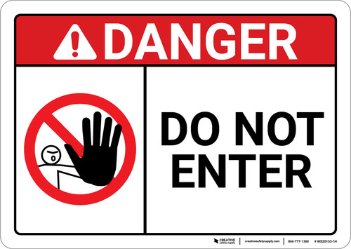 Danger: Do Not Enter With Icon ANSI - Wall Sign