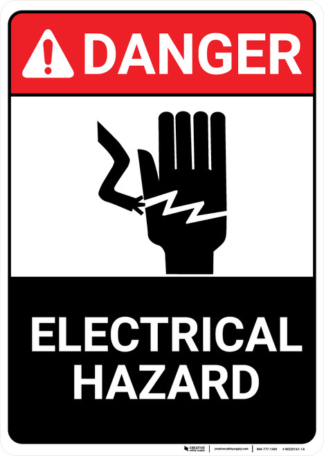 Danger: Electrical Hazard With Icon ANSI - Wall Sign