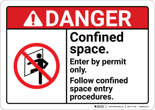 Danger: Enter By Permit Only Confined Space ANSI - Wall Sign