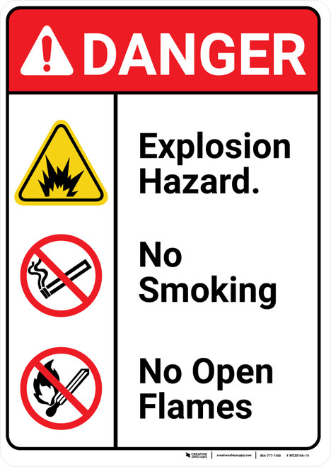 Danger: Explosion Hazard No Smoking No Open Flames ANSI - Wall Sign