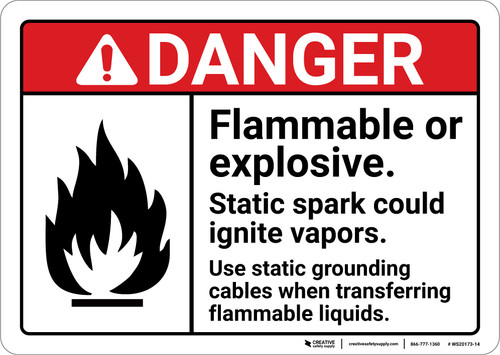 Danger: Flammable Explosiv Static spart could ignite vapors ANSI - Wall Sign