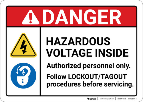 Danger: Hazardous Voltage Inside Authorized Personnel Only ANSI - Wall Sign