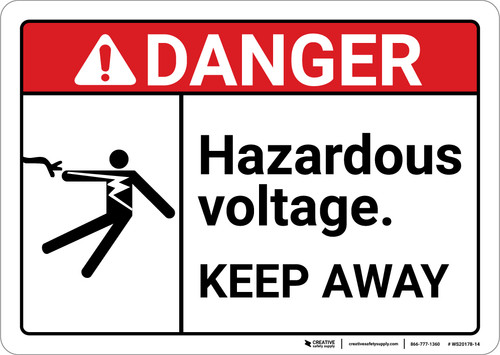 Danger: Hazardous Voltage Keep Away With Icon ANSI - Wall Sign
