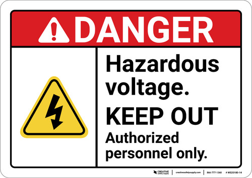 Danger: Hazardous Voltage Keep Out With Icon ANSI - Wall Sign