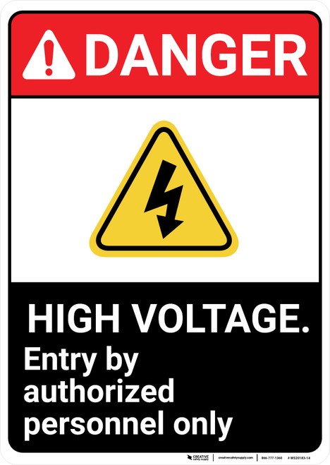 Danger: High Voltage Authorized With Icon ANSI - Wall Sign